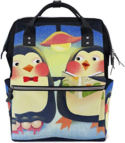 UUwant Sac à Dos à Couches pour Maman Large Capacity Diaper Backpack Travel Manager Baby Care Replacement Bag Nappy Bags Mummy Backpack Cute Penguin School Bag