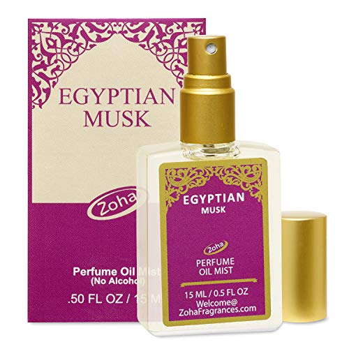 Egyptian Musk Perfume Oil Mist (no alcohol spray) - Natural Organic Essential Oils and Hypoallergenic Vegan Perfumes for Women and Men by Zoha Fragrances, 15 ml / 0.50 fl Oz