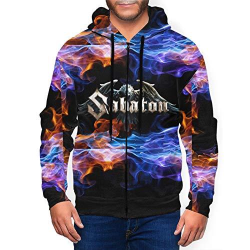 MarySWest Herren Hoodie mit durchgehendem Reißverschluss Sabaton Herren Jersey Active Sweatshirts Mit Taschen