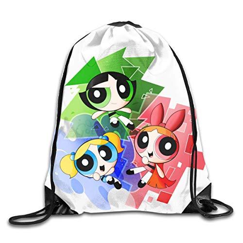 JHUIK Drawstring Bag Backpack,Le Sac à Dos Powerpuff Girls Fashion Design épaule Sac à Cordon Homme Femme Sacs Taille Unique
