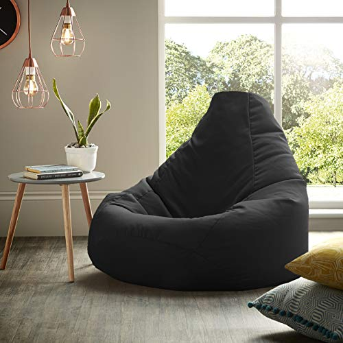 Beautiful Beanbags Adult Highback Beanbag Large Bean Bag Chair for Indoor and Outdoor Use - Water Resistant- Perfect Lounge or Gaming Chair - Home or Garden Bean Bag - Manufactured in UK (Black)