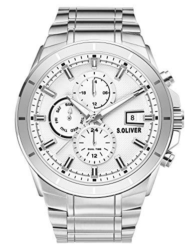 s.Oliver Herren Multi Zifferblatt Quarz Uhr mit Edelstahl Armband SO-3758-MM