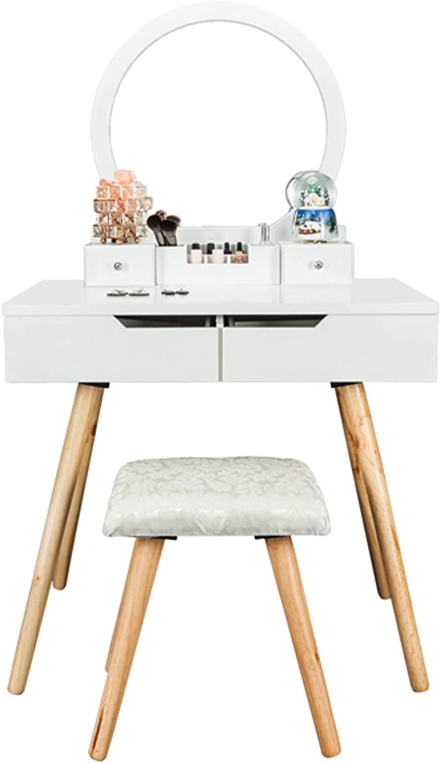 Modern Simple Low price Dressing Topics on TV Table with Bulb Single Mirror Round
