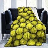 Funny Sports Decor Tennis Balls Micro Fleece Throw Blanket Warm Soft Throws for Winter Bedding, Couch Sofa 60'x50'