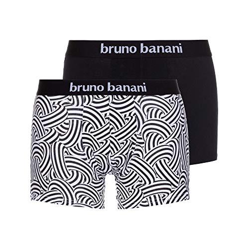 bruno banani Herren Short 2er Pack Maniac Boxershorts, Schwarz (Weiß/Schwarz Print//Schwarz 2539), Large (Herstellergröße: L)