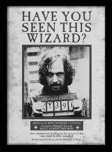 Pyramid International Harry Potter (Sirius Wanted) 30x40 cm gerahmter Druck, 250GSM PAPERWRAP MDF, Mehrfarbig, 44 x 33 x 4 cm