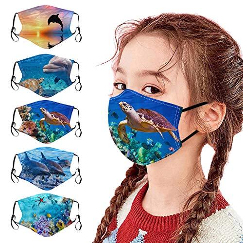 CAITOU 5 Stück Kinder Mundschutz mit Motiv Waschbar 3D Galaxy Druck Baumwolle Mund und Nasenschutz Wiederverwendbare Staubdicht Face Bandanas Halstuch Tuch für Children Jungen und Mädchen (U)