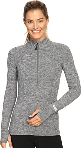 Terramar Women's Cloud Nine 4-Way Stretch Brushed Half Zip Jacket, Grey Melange, Small (6-8)