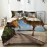 Juego de funda nórdica beige, bungalows en Tropic Island Coconut Palm Trees on The Beach Secret Paradise Maldives, juego de cama decorativo de 3 piezas con 2 fundas de almohada Easy Care Anti-Alérgico