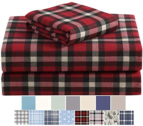 Morgan Home Fashions Cotton Turkish Flannel Sheets 100% Brushed Cotton for Supreme Comfort - Deep Pockets - Warm and Cozy, Great for All Seasons (Dover Plaid Red, King)