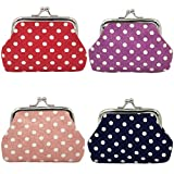 mciskin 4 pezzi mini Polka puntino portamonete portafoglio da donna borsa portamonete piccolo carino borsa portaoggetti per chiavi, auricolare, rossetto 3.5' L X 2.8' H