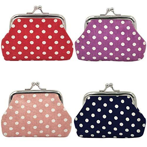 mciskin 4 pezzi mini Polka puntino portamonete portafoglio da donna borsa portamonete piccolo carino borsa portaoggetti per chiavi, auricolare, rossetto 3.5  L X 2.8  H