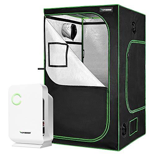 VIVOSUN Small Space Mini Dehumidifier for Grow tent Closets Bathroom and Basement, and 48'x48'x80' Mylar Hydroponic Grow Tent