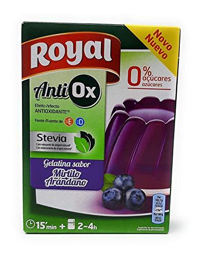 Royal Gelatina Antiox - Sabor Arandano - Con Stevia, Vitamin E, Vitamin D - por 1 litro de Gelatina