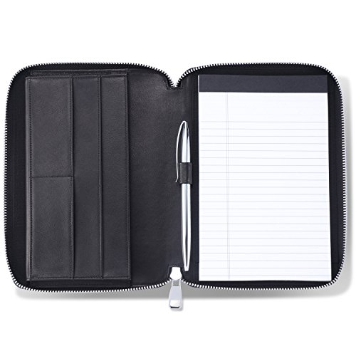 HISCOW Classy Leather Junior Zippered Portfolio with Pen Loop -...