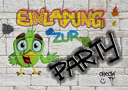 8 Einladungskarten zum Kindergeburtstag für Jungen & Mädchen   Geburtstagseinladungen für Kinder mit Motiv Party   Einladung zur Geburtstagsparty