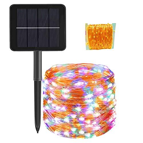 Catena di luci a energia solare per esterni, 24 m, 300 LED al di fuori del filo di rame,8 modalità, impermeabile, per alberi di Natale, giardino, balcone, , festa di nozze, multicolore