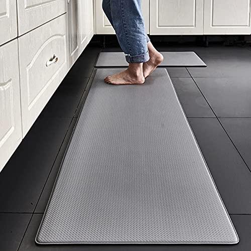 1 Stks Pvc Keuken Tapijt Waterdicht Oliebestendig Pu Lederen mat Antislip Vloer voor Woonkamer Slaapkamer Doorma, Machine Wasbaar,Gray,45 * 120cm