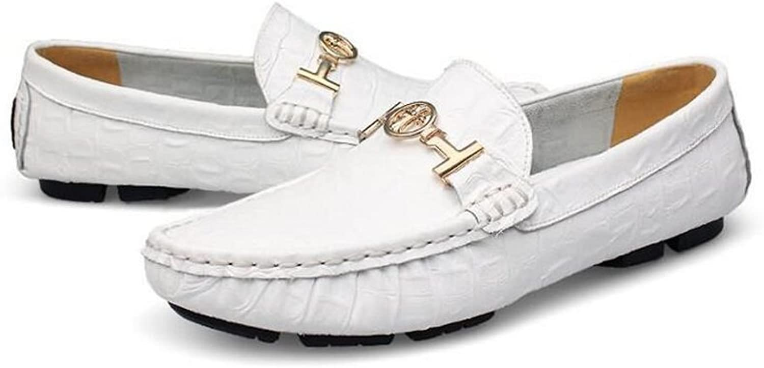 Beauqueen Mens Loafers Driving shoes Ventilate Material Cozy Upper Metal Decoration Flat Heel Business shoes 36-50 (color   White, Size   48)