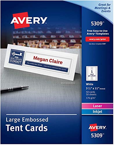 Avery Printable Large Tent Cards, Laser & Inkjet Printers, 50 Cards, 3.5 x 11 (5309), White