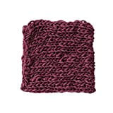 Coberllus Newborn Baby Photo Props Blanket Handmade Knitted Twist Wrap Posing Aid Backdrops For Boy Girls Photography Shoot (Red wine)