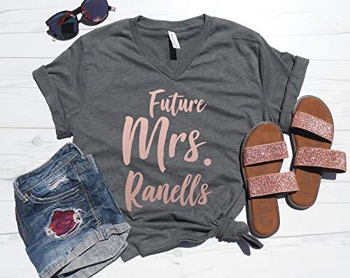 Future Mrs Last Name V-Neck Tee | Custom Last Name Vneck | Getting Ready Shirt | Engagement Gift | Engaged Shirt | Personalized Future Mrs Tee
