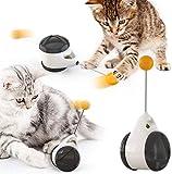 Pecco Interaktives Katzenspielzeug Balanced Kätzchen-Schaukelspielzeug 180 Grad selbstdrehendes Ballauto-Spielzeug mit Katzenminze