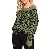 Wenini Women's Leopard Print Ripped Tassel Sweater V Neck Distressed Knit Pullover Jumper Top Off Shoulder Sweater