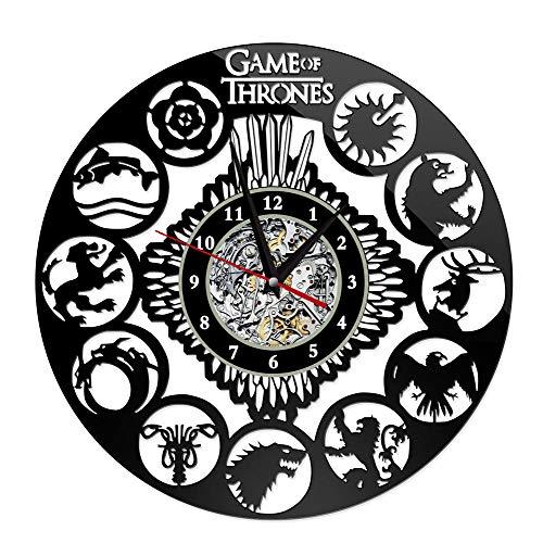 AZUOYI Juego de Tronos Disco de Vinilo Reloj Pared Grande Juego de Tronos Disco de Vinilo Reloj de Pared Diseño 3D Decoración Reloj Colgante Arte Decoración para El Hogar,B