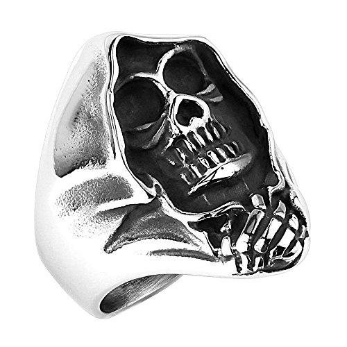 Mianova Herren Ring Sensenmann Ghost Rider Edelstahl Silber Größe 73 (23.2)
