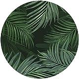 Deco&Fun - Alfombra Vinílica Redonda Verde Palm 160x160cm - Alfombra PVC Alfombra vinílica Cocina- Alfombra vinílica salón - Alfombras de Vinilo- Alfombra Redonda