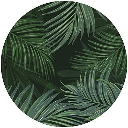 Deco&Fun - Alfombra Vinílica Redonda Verde Palm 80x80cm - Alfombra PVC Alfombra vinílica Cocina- Alfombra vinílica salón - Alfombras de Vinilo- Alfombra Redonda