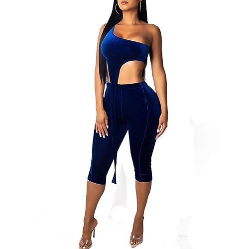 860fcdc2b0ca Rela Bota Women s Sleeveless Casual O-Neck Crop Top Shorts Sets Club 2 Piece  Outfits