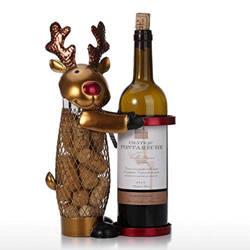 Tooarts - Soporte de Vino y Contenedor de Corcho de Vino 2 en 1 - Elaphurus davidianus Christmas Elk Decoración del Hogar (Obra Hecho a Mano)