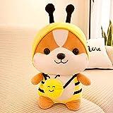 QIAOJIE Birthday Gift Mutable Send Female Children's Doll Bee Animal Corgi Chai Pillow Dinosaur Plush Toy Shiba Inu Plush Toy Squirrel Doll(Yellow)
