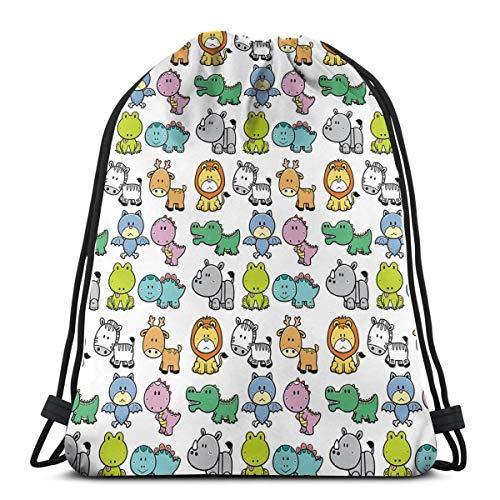 Jiger Drawstring Tote Bag Gymnastiektas, cartoon stijl dieren zebra Frog dinosaur krokodil Bat Rhino fun illustratie, premium kwaliteit Gym Bag voor volwassenen en kinderen