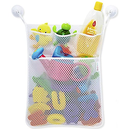 masrin Baby Bath Time Spielzeug ordentliche Aufbewahrung Aufhängen Tasche Mesh Tasche Mesh Badezimmer Organizer Net weiß