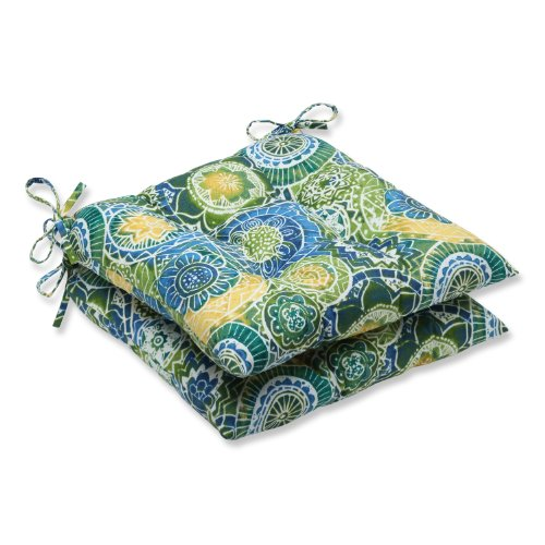 """Pillow Perfect Outdoor/Indoor Omnia Lagoon Tufted Seat Cushions (Square Back), 19"""" x 18.5"""", Blue, 2 Pack"""