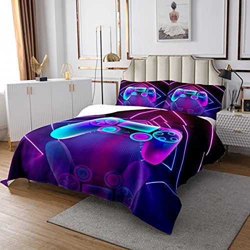Homewish Juego de ropa de cama de 170 x 210 cm, para niños, niñas, consola de videojuegos, regulador, juego de edredón, colcha, decoración de habitación