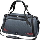 NUBILY Bolsa Deporte Hombre Bolsas Gimnasio Mujer Bolso Fin de Semana Viaje con Compartimento para Zapatos Gym Bag Impermeable Grande 40L Gris Azul