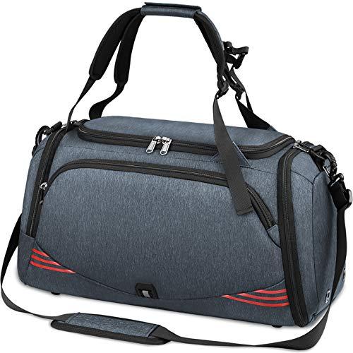 NUBILY Sac de Sport Homme Sacs Voyage Femme avec Compartiment à Chaussures Grande Capacité Imperméables Travel Duffel Weekend Fitness Bag 40L Gris Bleu