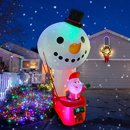 RETRO JUMP 10 FT Christmas Inflatable Santa Sitting on Hot Air Balloon Snowman, Color Changing Lights up Christmas Decoration Lighted Blow up Yard Party Décor Xmas Inflatable Outdoor Indoor Home Yard