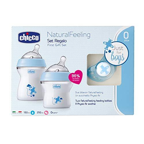 Chicco NaturalFeeling - Set de regalo con 2 biberones recién nacido + chupete, 0 m+, azul