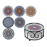 LOVECASA Set di Sottobicchieri 6 Pezzi Ceramica con Supporto in Stile Mandala Decorare per la Decorazione di Tazza, per Tazze di Bevande, 6 Pezzi, 10,3 cm con Supporto