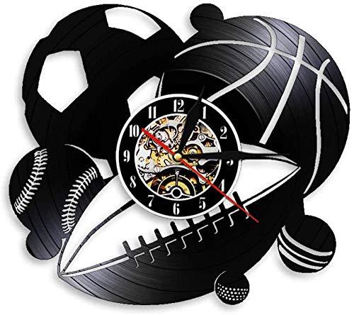 WJUNM Reloj de Pared de Vinilo Retro con combinación de Pelota Deportiva, Reloj de Pared para Jugador, decoración del hogar, Regalo, fútbol, Baloncesto, béisbol, Golf, Golf, Rugby, Reloj de Pared