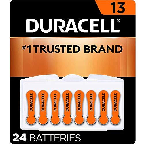 Duracell - Hearing Aid Batteries Size 13 (Orange) - long lasting battery with EasyTab for ease of installation - 24 count