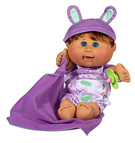 Cabbage Patch Kids 12.5u0022 Naptime Babies - Brunette Hair/Blue Eye Girl (Leopard Jumper Fashion)