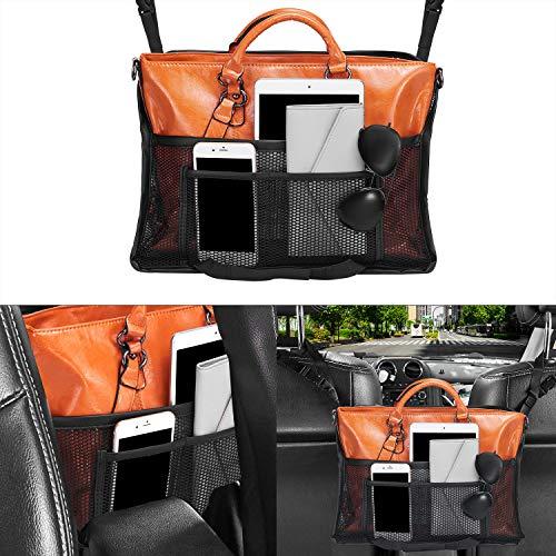 Car Net Pocket Handbag Holder,Car Handbag Holder ,Car Seat Back Organizer ,Upgrade Large Capacity Car Net Pocket Organizer with Mesh for Purse and Bags,Barrier of Back Seat Pet Kids(Black)