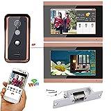 Wired WiFi Bildtelefon Türklingel Freisprecheinrichtung Zutrittskontrollsystem mit Elektroschocksperre Home Security