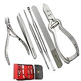 BeautyTrack Kit de acero inoxidable macizo cortaúñas herramientas pinzas para tratamientos de uñas - Fix fácilmente y prevenir doloridos - Cutícula Nipper - Juego de clavos para uñas de los pies